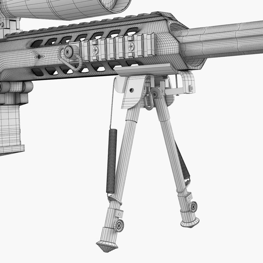 Sniper rifle Barrett M98B royalty-free 3d model - Preview no. 16