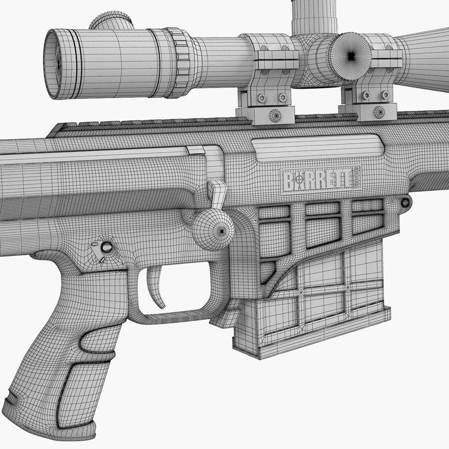 Sniper rifle Barrett M98B royalty-free 3d model - Preview no. 10