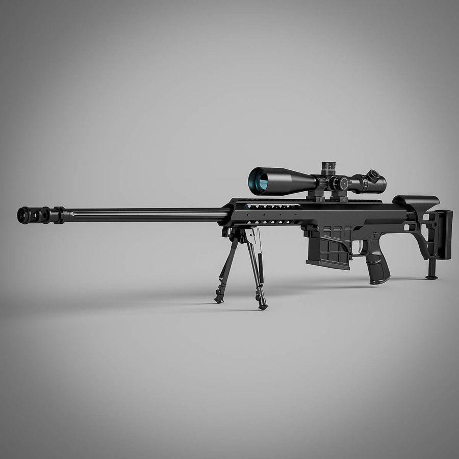 Sniper rifle Barrett M98B royalty-free 3d model - Preview no. 5