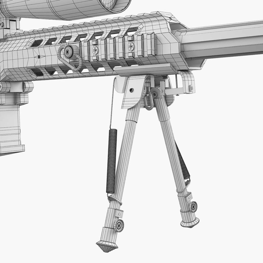 Sniper rifle Barrett M98B royalty-free 3d model - Preview no. 17