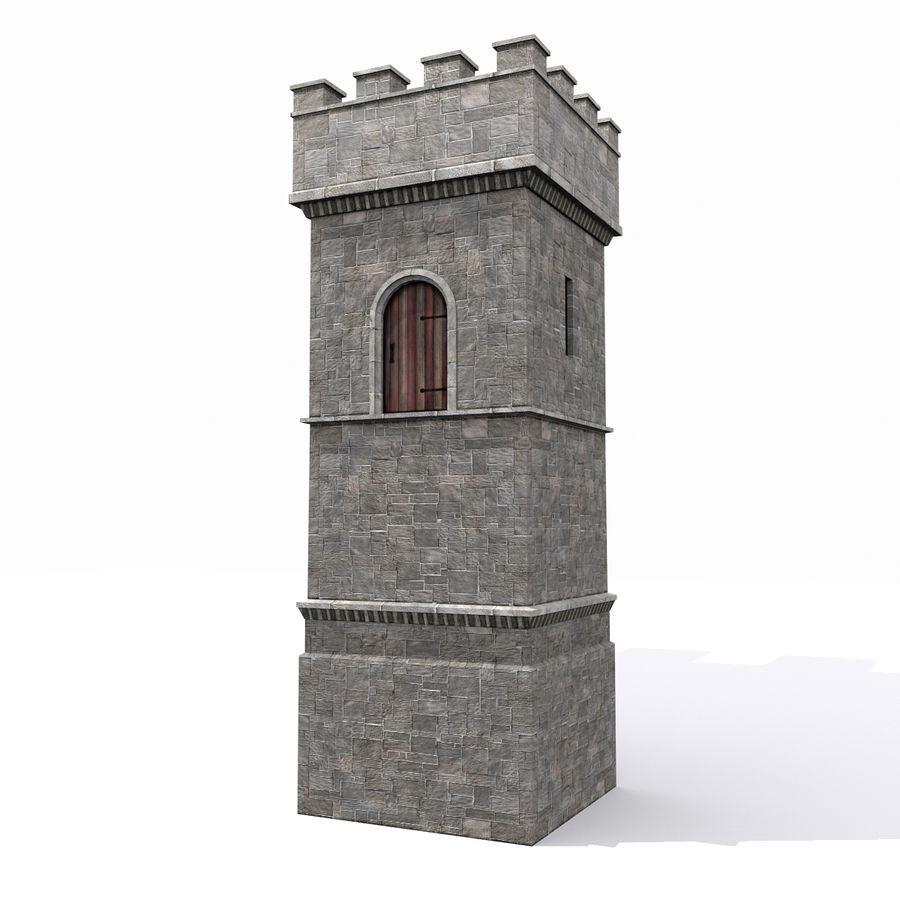 Zamek Średniowieczna Wieża Wieża 1 royalty-free 3d model - Preview no. 3
