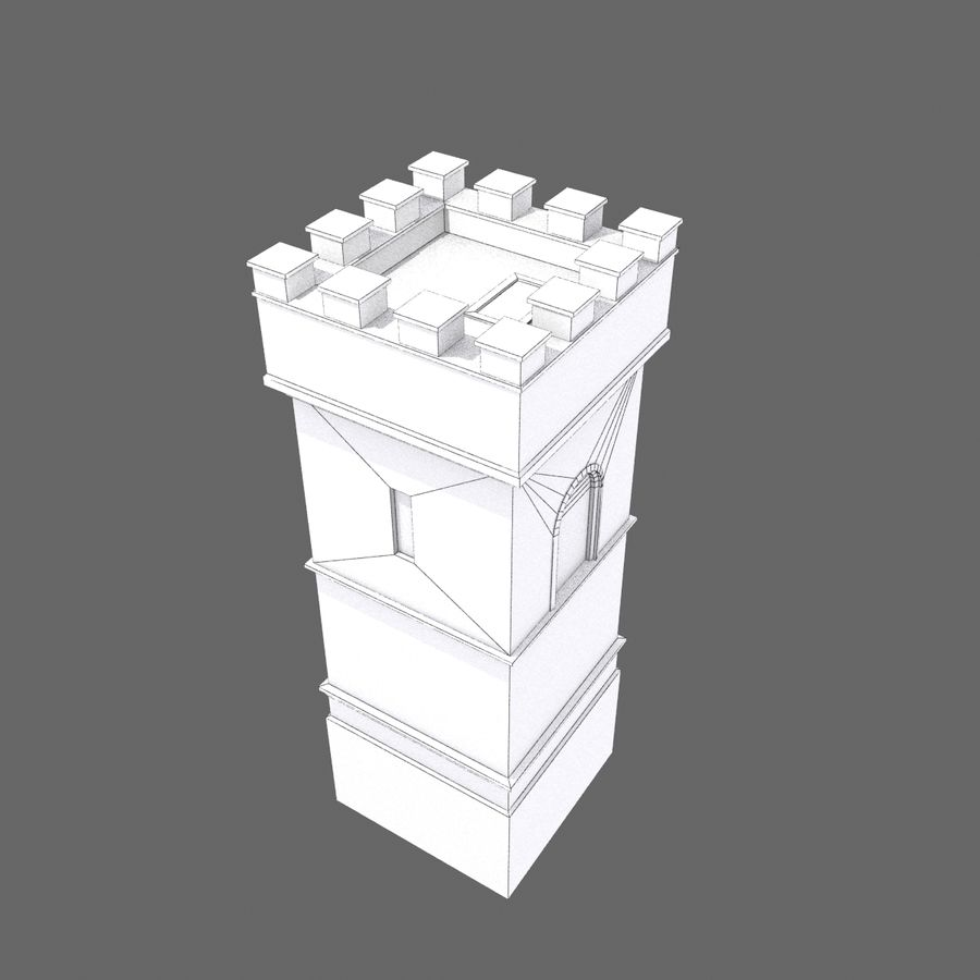 Zamek Średniowieczna Wieża Wieża 1 royalty-free 3d model - Preview no. 9