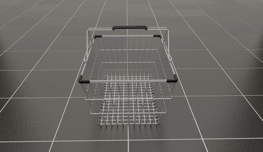 Wire Shopping Basket royalty-free 3d model - Preview no. 5