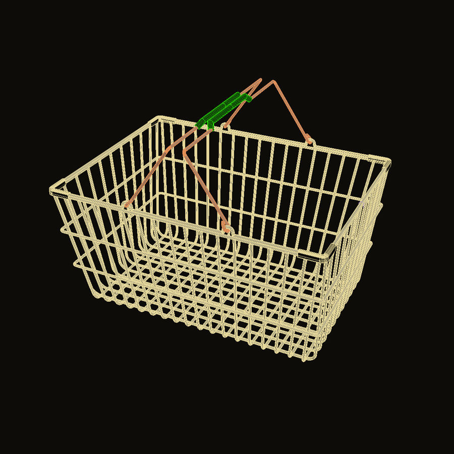 Wire Shopping Basket royalty-free 3d model - Preview no. 2