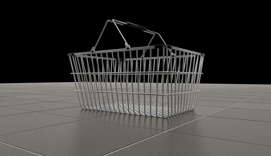 Wire Shopping Basket royalty-free 3d model - Preview no. 6