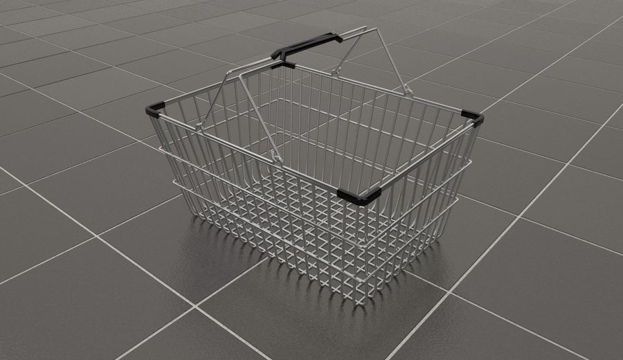 Wire Shopping Basket royalty-free 3d model - Preview no. 1