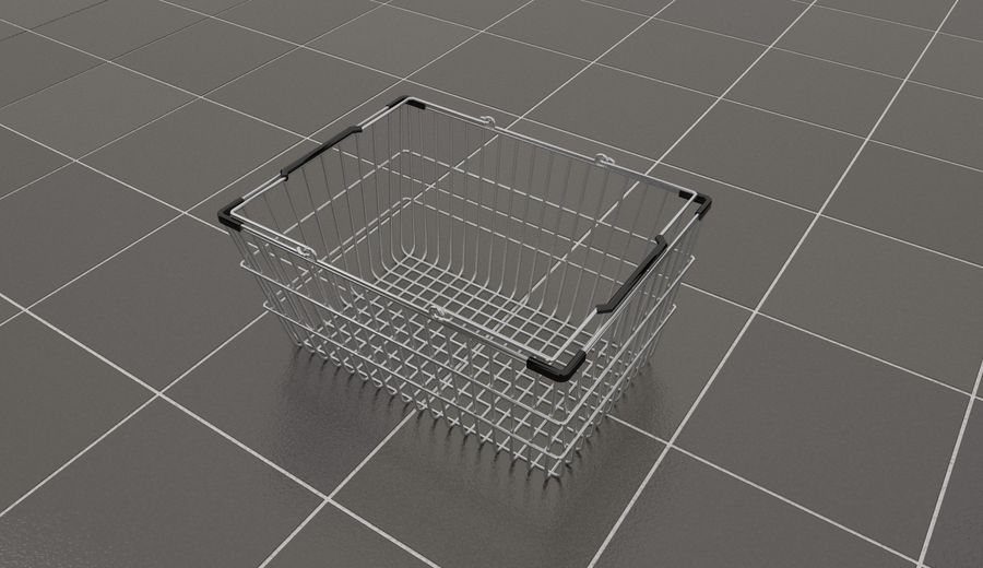 Wire Shopping Basket royalty-free 3d model - Preview no. 4