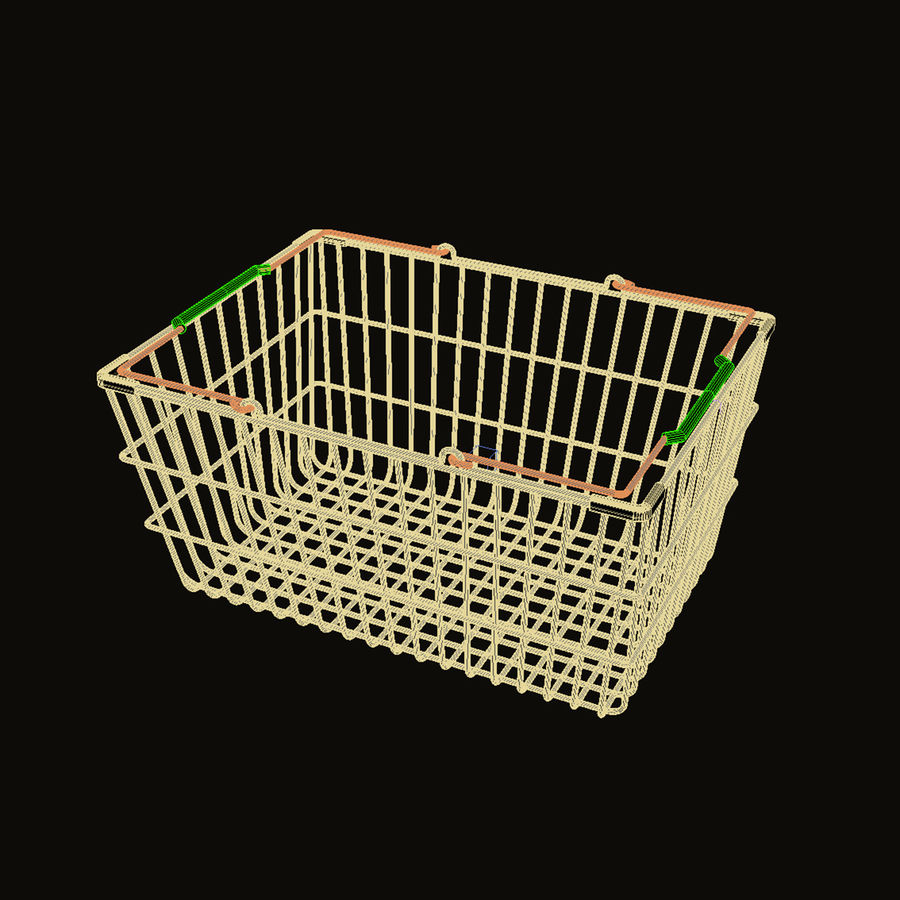 Wire Shopping Basket royalty-free 3d model - Preview no. 3
