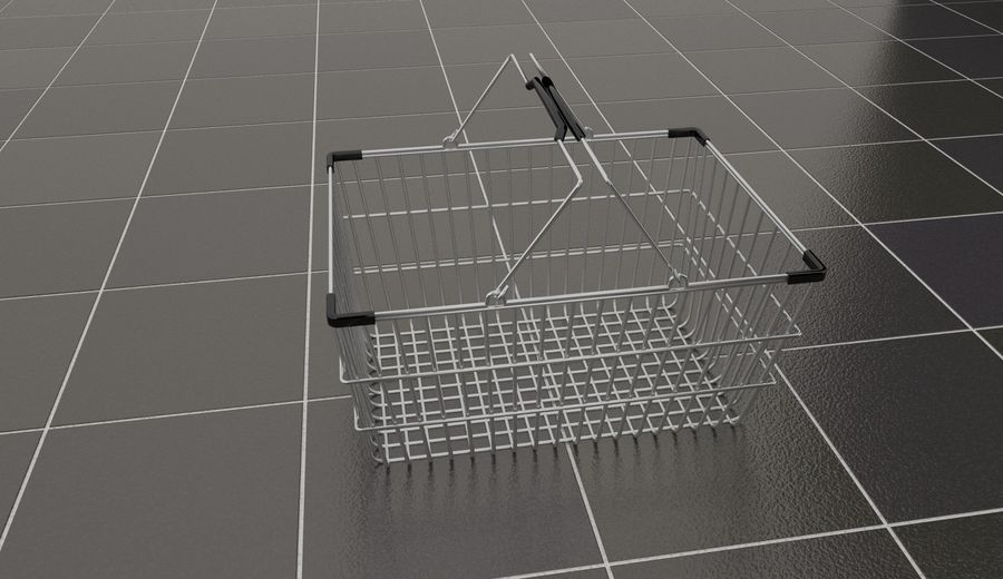 Wire Shopping Basket royalty-free 3d model - Preview no. 7