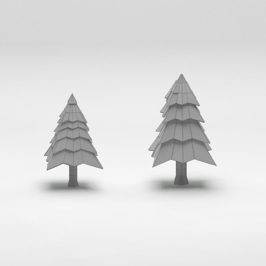 Cartoon spruce snowy tree 2 royalty-free 3d model - Preview no. 8