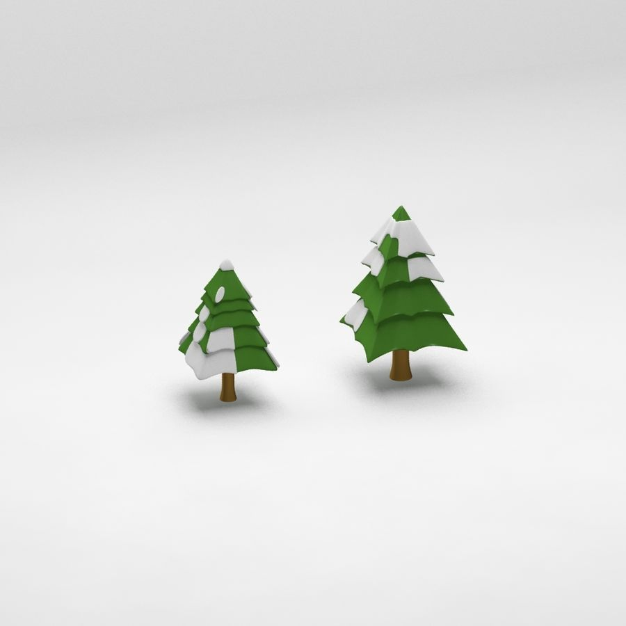 Cartoon spruce snowy tree 2 royalty-free 3d model - Preview no. 7