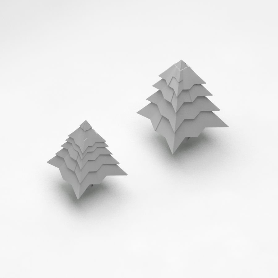 Cartoon spruce snowy tree 2 royalty-free 3d model - Preview no. 4