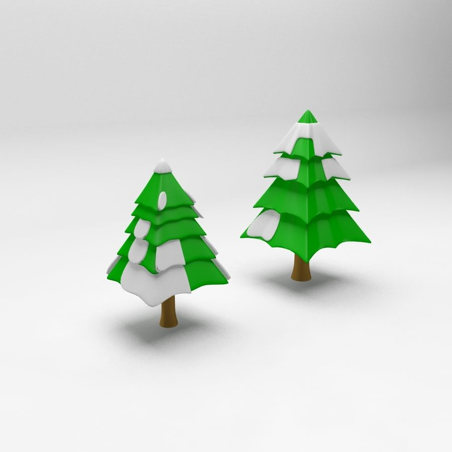 Cartoon spruce snowy tree 2 royalty-free 3d model - Preview no. 2