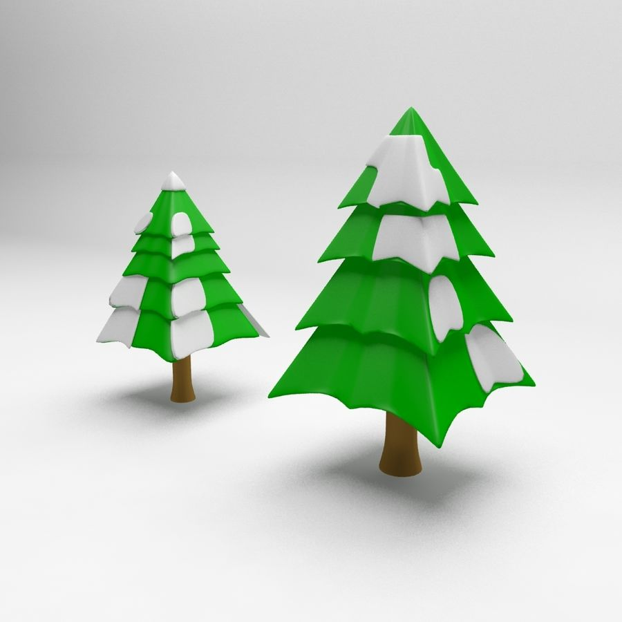 Cartoon spruce snowy tree 2 royalty-free 3d model - Preview no. 5