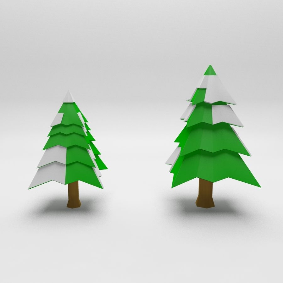 Cartoon spruce snowy tree 2 royalty-free 3d model - Preview no. 3