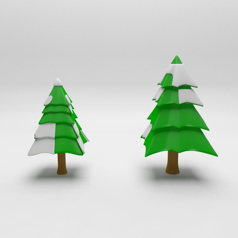 Cartoon spruce snowy tree 2 royalty-free 3d model - Preview no. 1