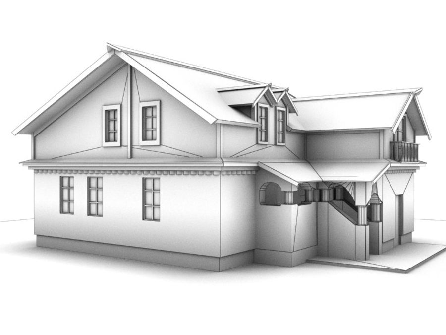 House Cottage royalty-free 3d model - Preview no. 8