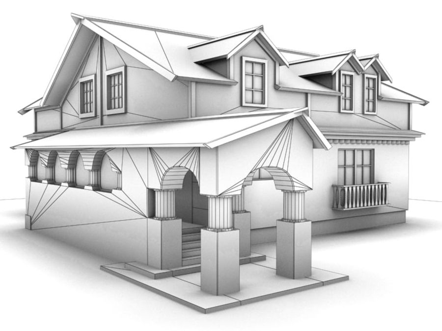 House Cottage royalty-free 3d model - Preview no. 11