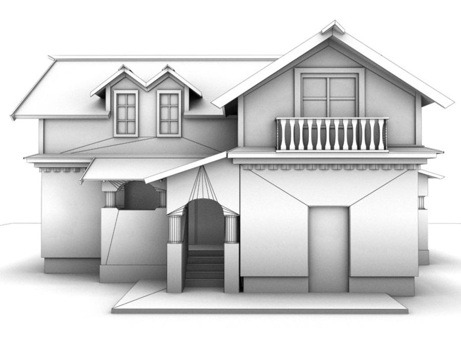 House Cottage royalty-free 3d model - Preview no. 9