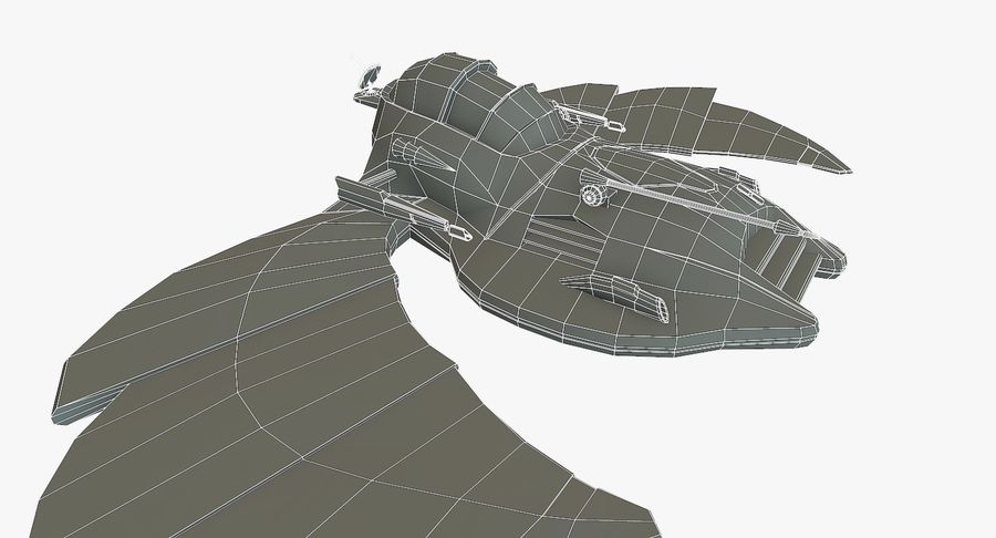 Starship Fighter royalty-free 3d model - Preview no. 13