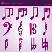 Musical Notes Symbols ( 55 pcs ) 3d model