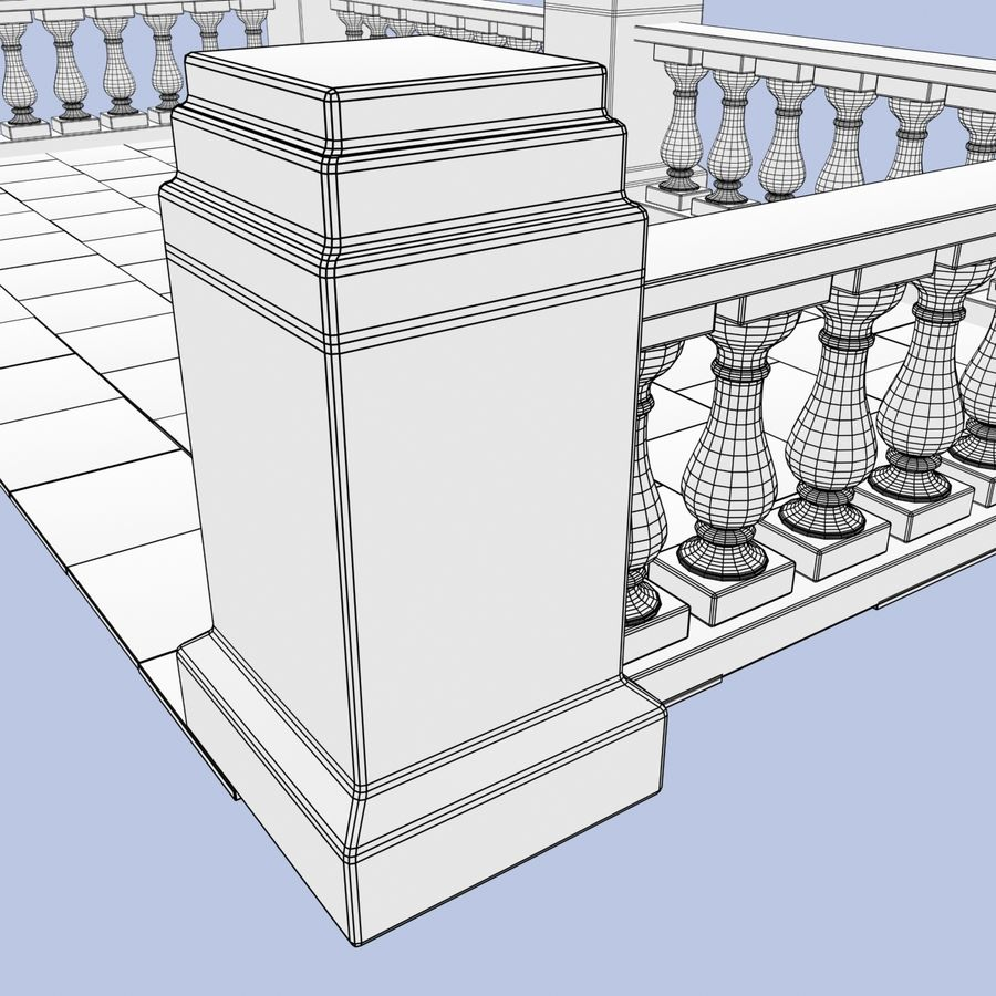 Balcony royalty-free 3d model - Preview no. 10
