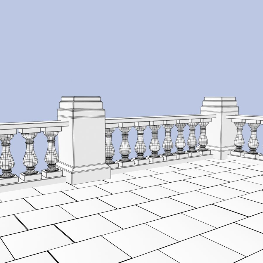Balcony royalty-free 3d model - Preview no. 13