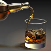 Whiskey bottle and glass 3d model