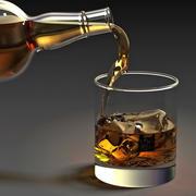 Whiskyfles en glas 3d model