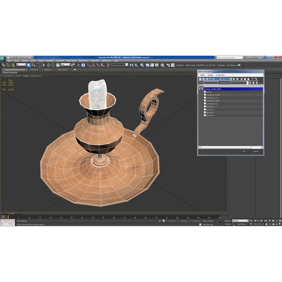 Antique Candle Holder royalty-free 3d model - Preview no. 18