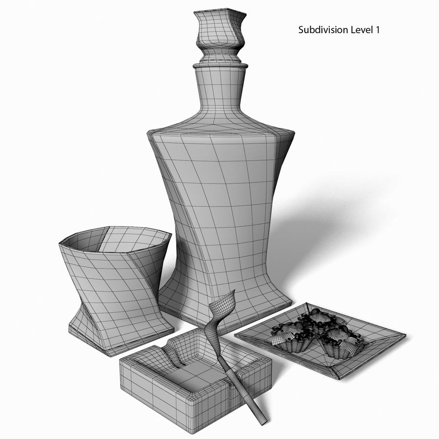 Whisky med en mellanmål royalty-free 3d model - Preview no. 8