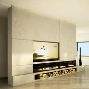 tv beton duvar modern şömine 3d model