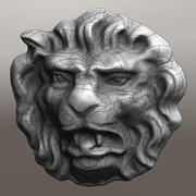 Sculpture d'une tête de lion 3d model
