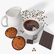 カップケーキとコーヒーカップ 3d model