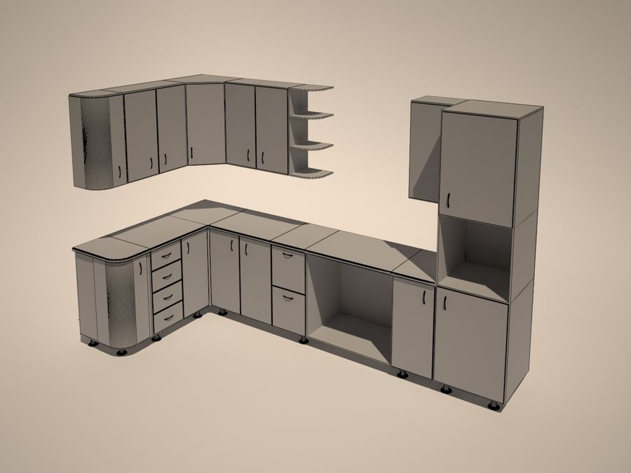 Gabinetes de cocina modernos royalty-free modelo 3d - Preview no. 4