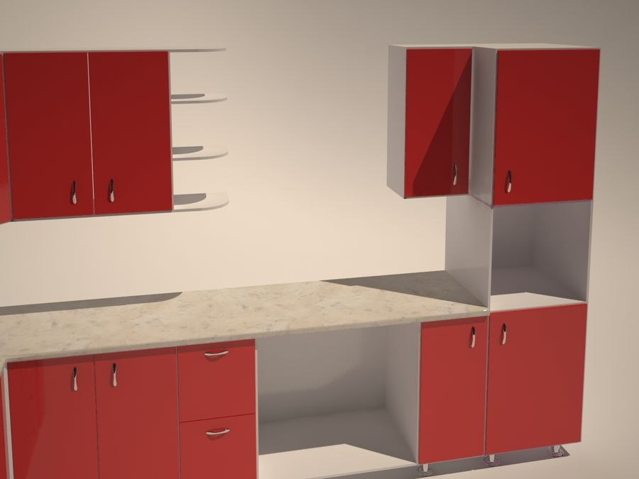 Gabinetes de cocina modernos royalty-free modelo 3d - Preview no. 3