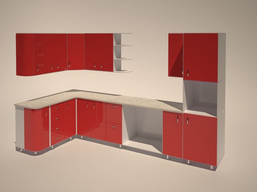 Gabinetes de cocina modernos royalty-free modelo 3d - Preview no. 1