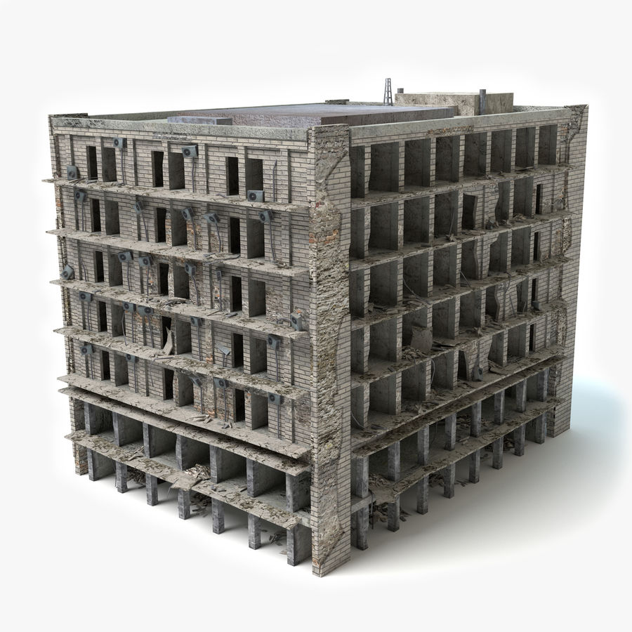被毁的建筑物 royalty-free 3d model - Preview no. 1