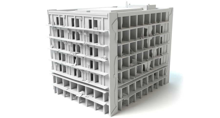 被毁的建筑物 royalty-free 3d model - Preview no. 6