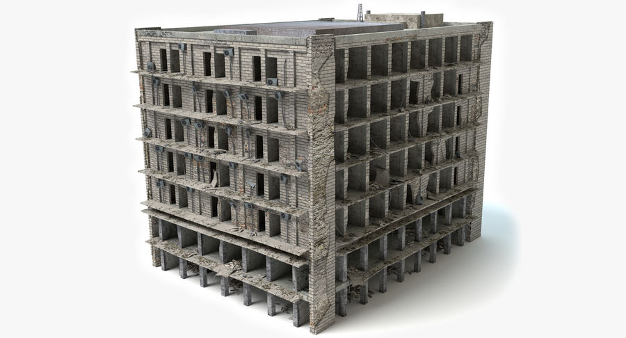 被毁的建筑物 royalty-free 3d model - Preview no. 2