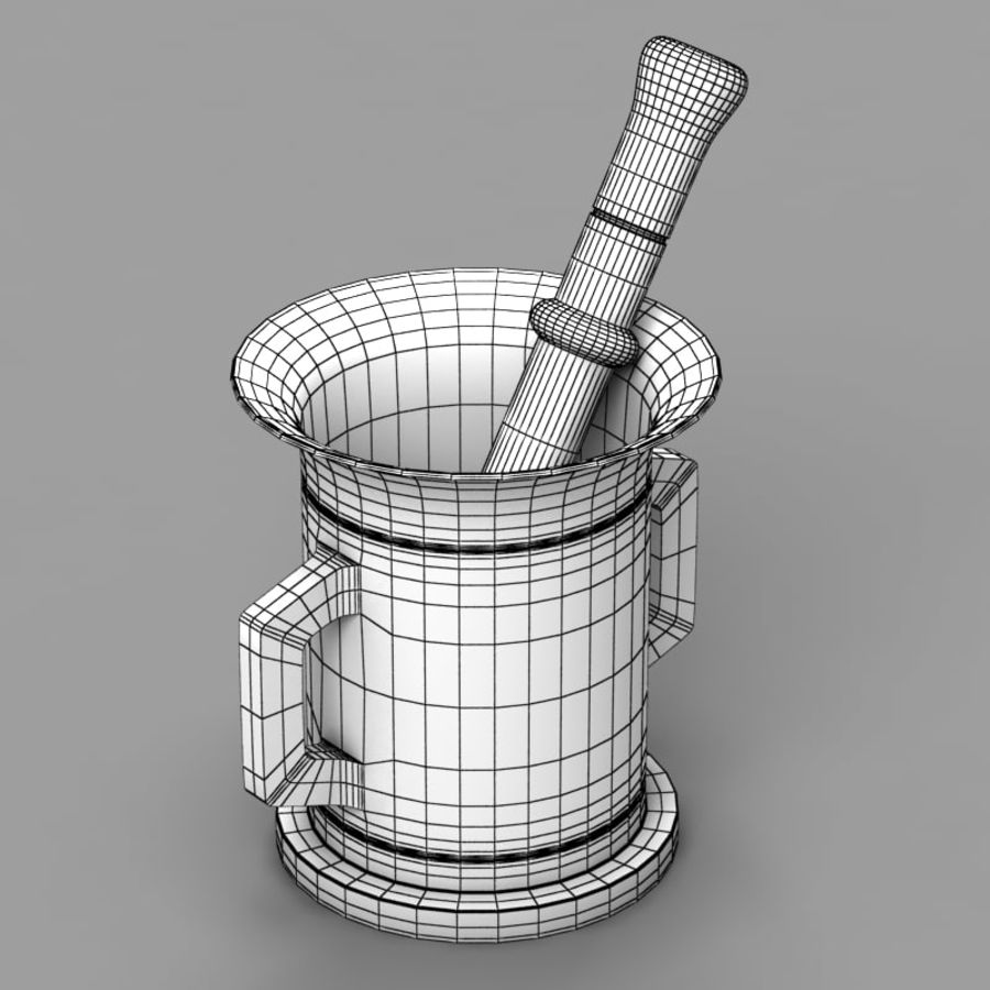 Mortar and Pestle 2 royalty-free 3d model - Preview no. 7