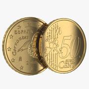 Spain Euro Coin 50 Cent 3d model