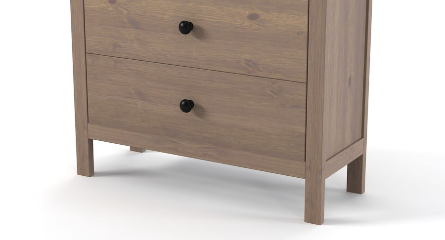Cômoda Ikea Hemnes royalty-free 3d model - Preview no. 3