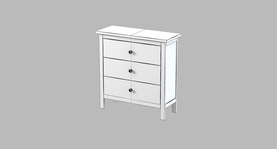 Cômoda Ikea Hemnes royalty-free 3d model - Preview no. 4