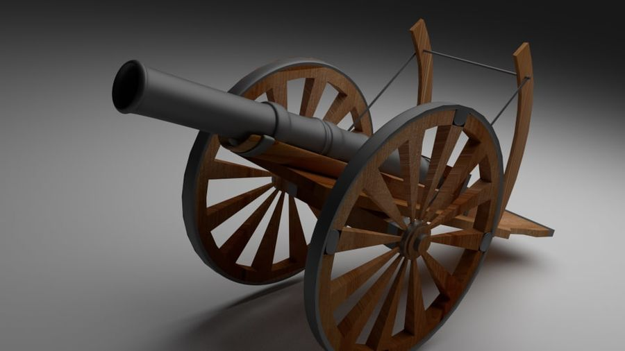 Field cannon royalty-free 3d model - Preview no. 2