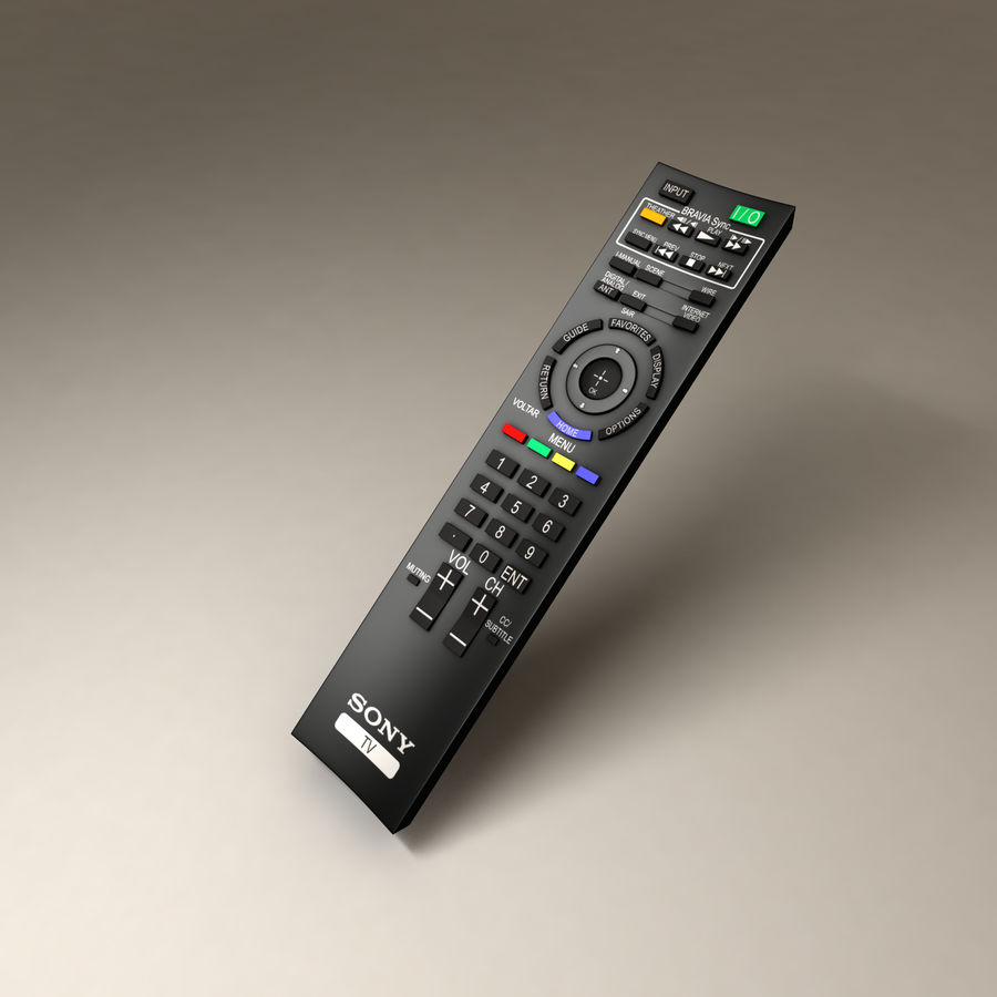 Sony BRAVIA TV Remote Control royalty-free 3d model - Preview no. 1