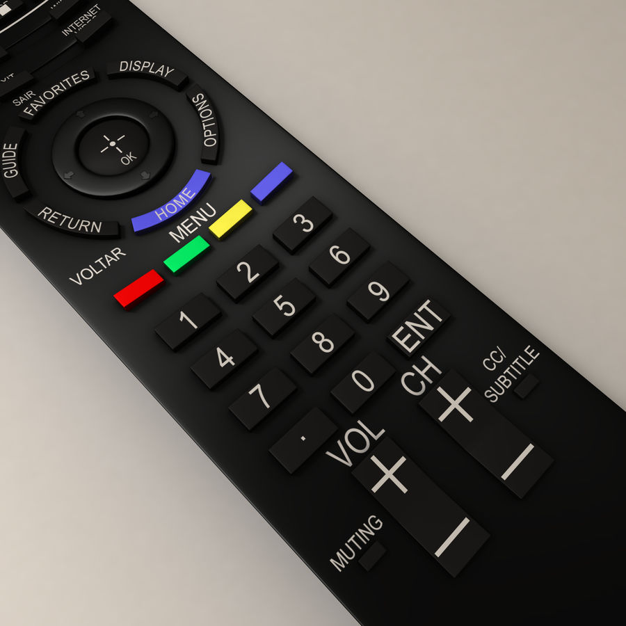 Sony BRAVIA TV Remote Control royalty-free 3d model - Preview no. 3