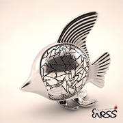 Statue de poisson moderne 3d model