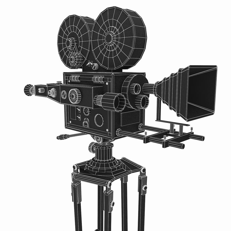 Vintage Film Movie Camera (low poly) royalty-free 3d model - Preview no. 2