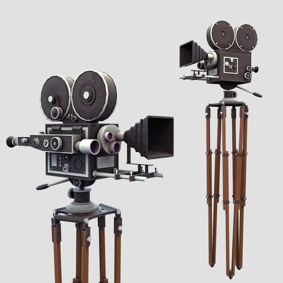 Vintage Film Movie Camera (low poly) royalty-free 3d model - Preview no. 1
